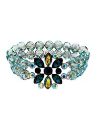 Monet Peacock Crystal Bead Stretch Bracelet Silver