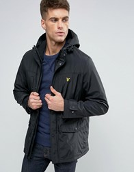 Lyle And Scott Hooded Parka Eagle Logo Microfleece Lined True Black