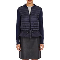 Moncler Women's Maglione Zip Front Sweater Navy