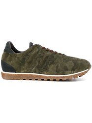 Alberto Fasciani Camouflage Panelled Sneakers Cotton Suede Rubber Green