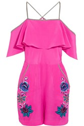 Matthew Williamson Sakura Floral Embroidered Silk Playsuit Fuchsia
