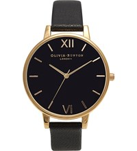 Olivia Burton Big Dial Leather And Yellow Gold Plated Watch Black
