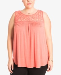 Eyeshadow Trendy Plus Size Crochet Illusion Top Desert Coral