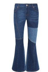Alexander Mcqueen Patchwork Cropped Mid Rise Flared Jeans Mid Denim