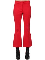 Marco De Vincenzo Flared Techno Jersey Cropped Pants Red Pink