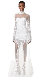 Jonathan Simkhai Flare Sleeve Lace Gown White