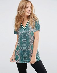 Asos T Shirt In Bright Snake Print With Stripe Tipping In Longline Multi