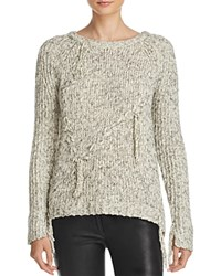 Ella Moss Kiarah Braided Fringe Sweater Natural Charcoal