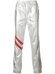 God's Masterful Children Astro Faux Leather Trousers Silver