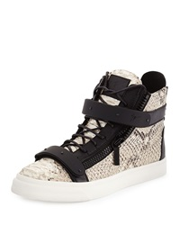 Giuseppe Zanotti Men's Snake Print High Top Sneaker Natural