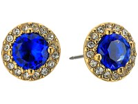 Lauren Ralph Lauren Treasure Trove Small Stone Stud Earrings Blue Crystal Gold Earring