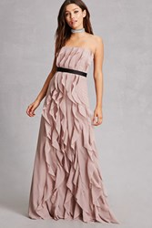 Forever 21 Lilibet Ruffled Maxi Dress Taupe