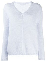 Closed Dropped Shoulder Sweater Blue