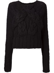 Barbara I Gongini Chunky Cable Knit Sweater Black