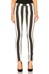 Off White Striped Skinny Jeans In Stripes Black Stripes Black White