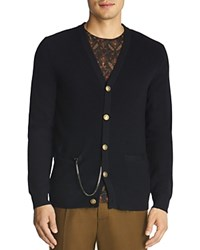 The Kooples Wool And Leather Cardigan Navy