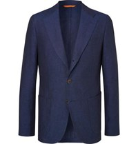 Tod's Navy Slim Fit Unstructured Linen Suit Jacket Navy