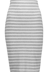 Bailey 44 Bianca Striped Stretch Jersey Skirt Light Gray