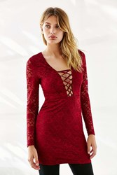 Oh My Love Lace Up Bodycon Lace Dress Maroon