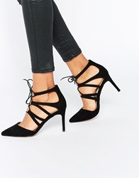 Asos Solar Lace Up Pointed Heels Black