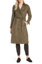 Tahari Mel Faux Suede Trench Coat Olive