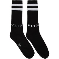 Valentino Black And Grey Garavani Vltn Socks