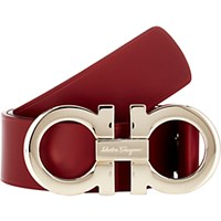 Salvatore Ferragamo Men's Leather Belt Red