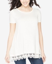 Wendy Bellissimo Maternity Lace Hem Tee White