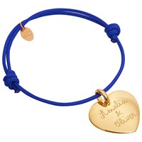 Merci Maman 18Ct Gold Plated Personalised Heart Bracelet Gold Royal Blue