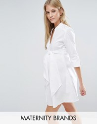Isabella Oliver Longline Shirt Dress With Tie Waist White