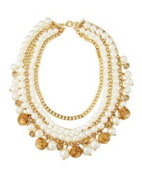 Fragments For Neiman Marcus Multi Row Simulated Pearl Statement Necklace Gold