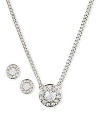 Givenchy Pave Pendant Necklace And Stud Earrings Set Silver