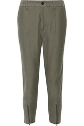 Bassike Cropped Cotton Pants Army Green