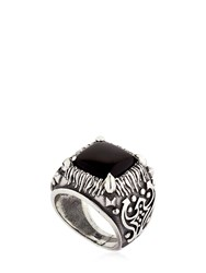 Emanuele Bicocchi Onyx And Sterling Silver Square Ring