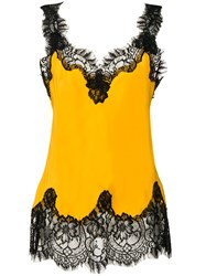 Gold Hawk Lace Trimmed Top Yellow