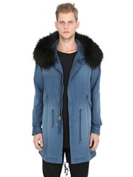 Mrandmrs Italy Raccoon Fur Trimmed Cotton Canvas Parka