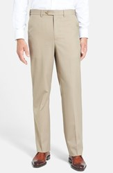 Men's Berle Self Sizer Waist Tropical Weight Flat Front Trousers Tan