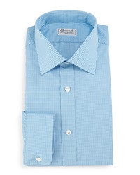 Charvet Check Barrel Cuff Dress Shirt Teal