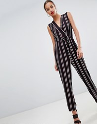 Ax Paris Striped Tailored Jumpsuit Black