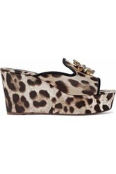 Dolce And Gabbana Crystal Embellished Leopard Print Twill Wedge Mules Animal Print