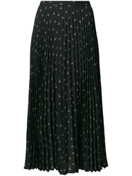 Vince Tossed Ditsy Floral Pleated Skirt Polyester Black