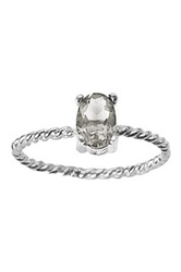 Ariane Arazi Sterling Silver Twisted Wire Oval Crystal Ring Metallic