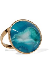 Dara Ettinger Gold Plated Stone Ring Blue