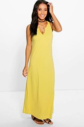 Boohoo Button Front Maxi Dress Yellow