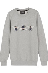 Markus Lupfer Bumble Embroidered Printed Cotton Sweatshirt Gray
