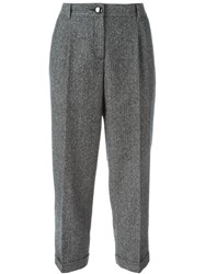 Dolce And Gabbana Tweed Cropped Trousers Black