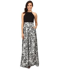 Aidan Mattox Halter Neck Gown With Embroidered Lace Skirt Black Ivory Women's Dress