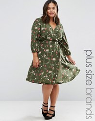 Yumi Plus Wrap Dress In Floral Print Olive Green