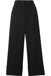 Michael Kors Collection Cropped Wool Twill Straight Leg Pants Black