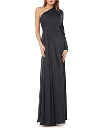 Kay Unger New York One Shoulder Gown W Draped Sash Gunmetal